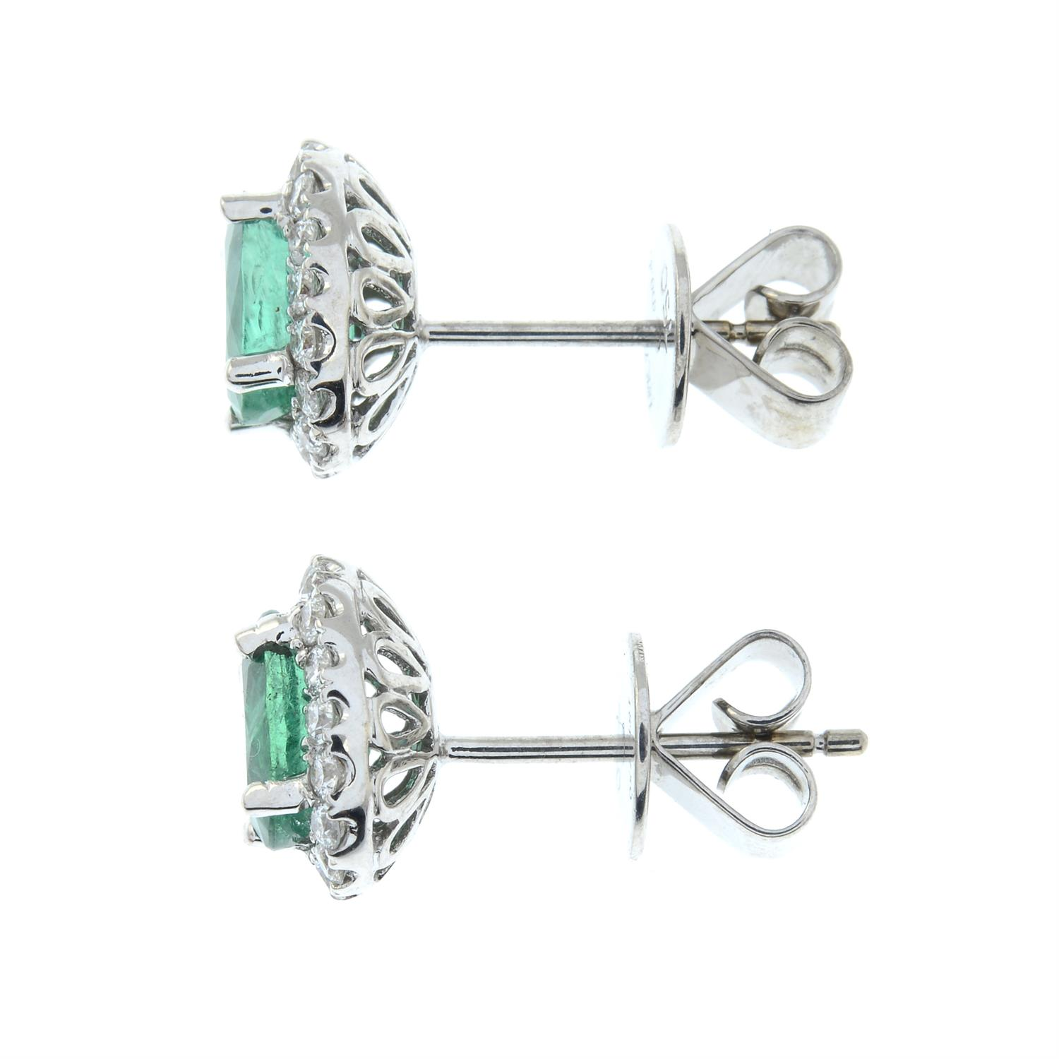 A pair of emerald and diamond cluster earrings. - Image 4 of 4