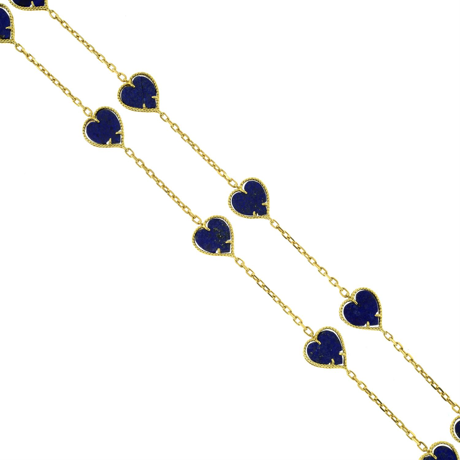 A mid 20th century 18ct gold lapis lazuli heart necklace. - Image 2 of 6