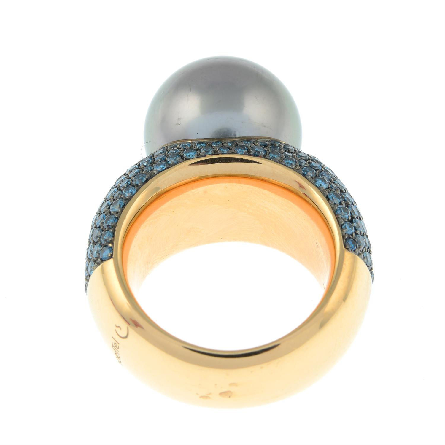 A colour-treated blue diamond and 'Tahitian' cultured pearl 'Classic Collection' ring, by Schoeffel. - Image 5 of 6