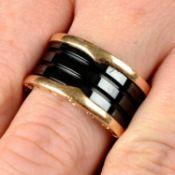 A black ceramic 'B.Zero1' ring, by Bulgari.