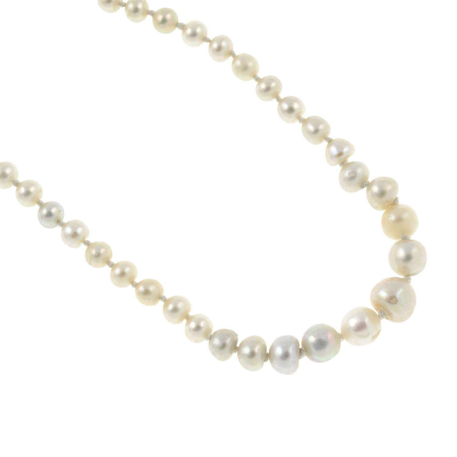 A graduated natural pearl single-strand necklace, with old-cut diamond clasp. - Image 4 of 6