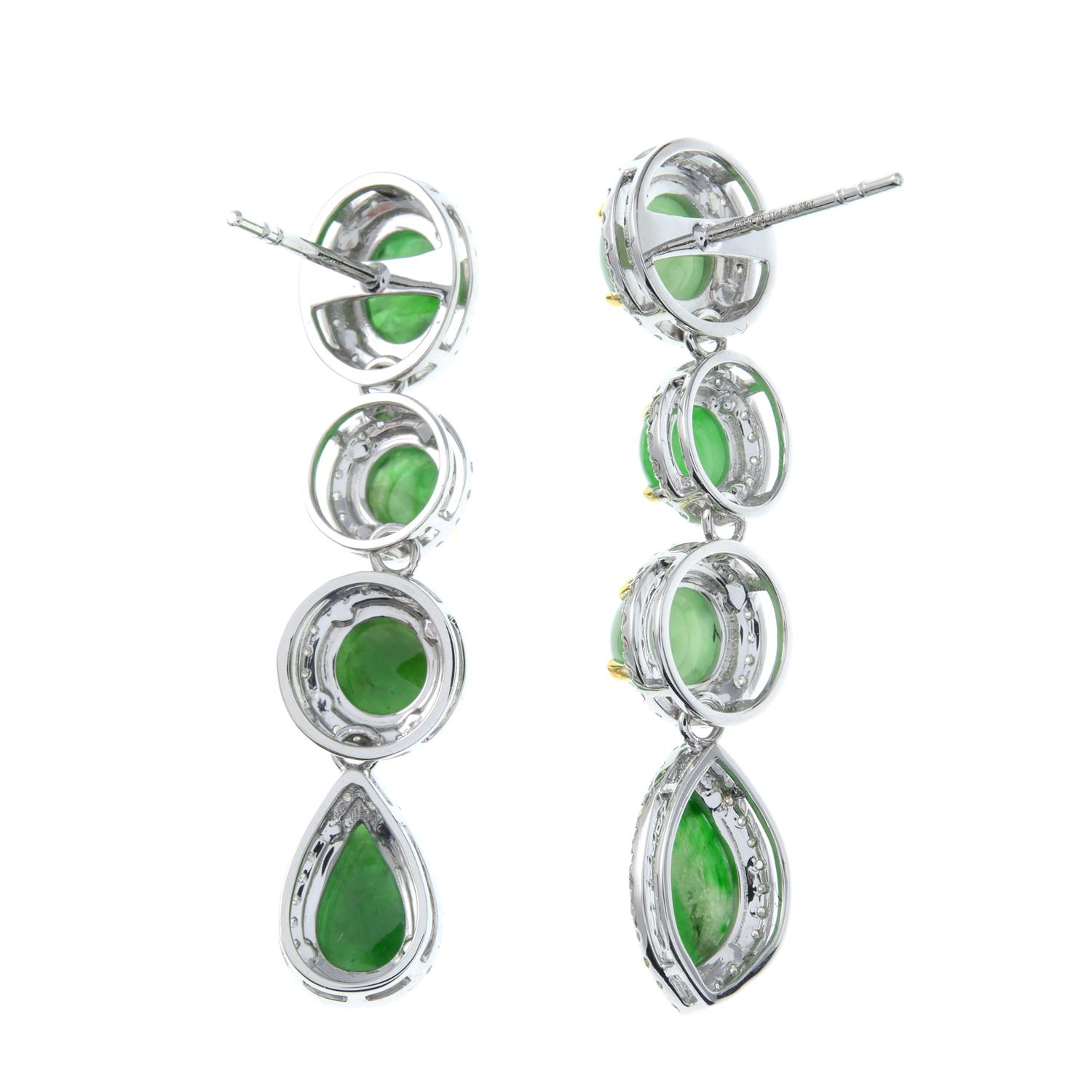 A pair of jade and diamond cluster drop earrings. - Image 3 of 4