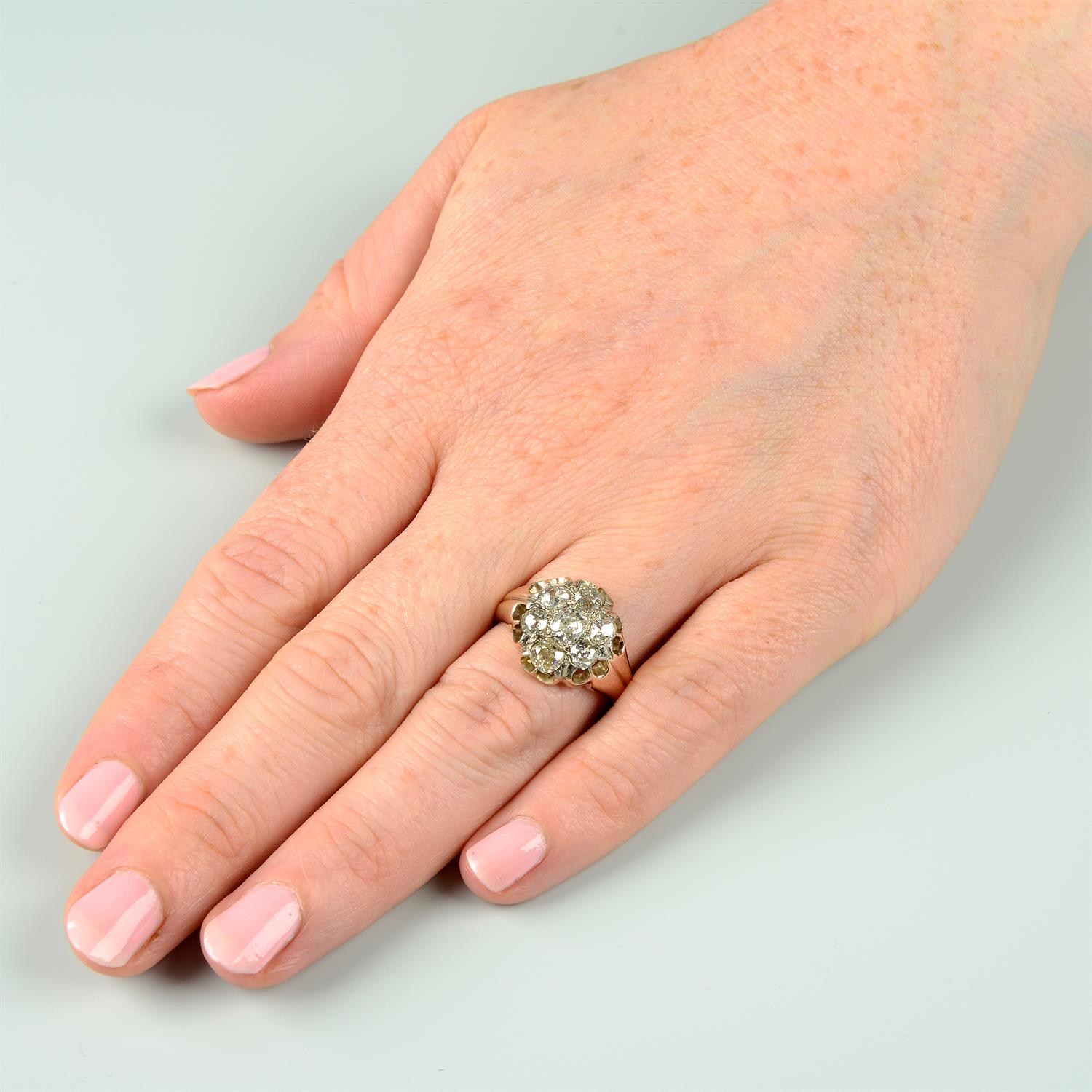 An early 20th century 9ct gold old-cut diamond cluster ring. - Image 6 of 6