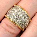 An 18ct gold pavé-set diamond tapered ring.