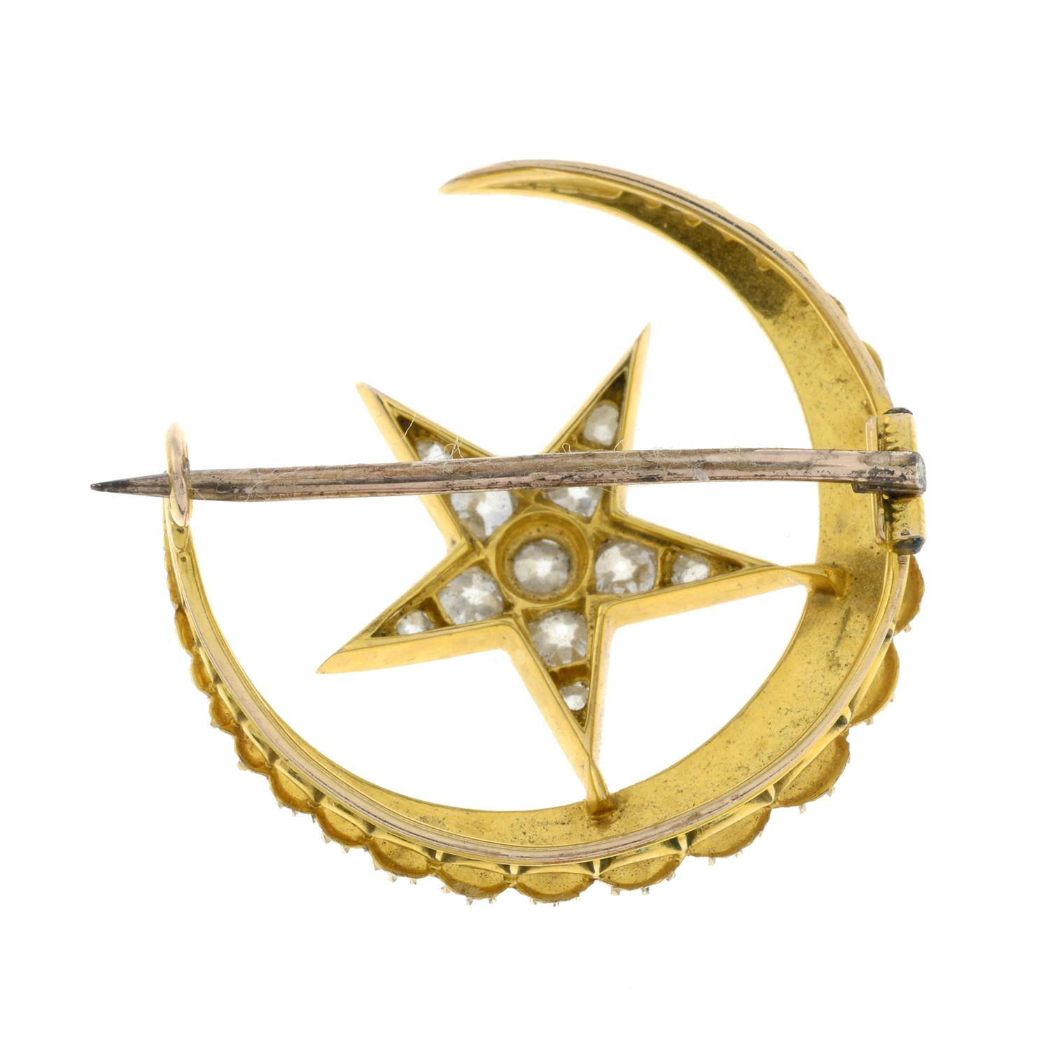 A late Victorian 15ct gold split pearl and old-cut diamond crescent moon and star brooch. - Image 3 of 5