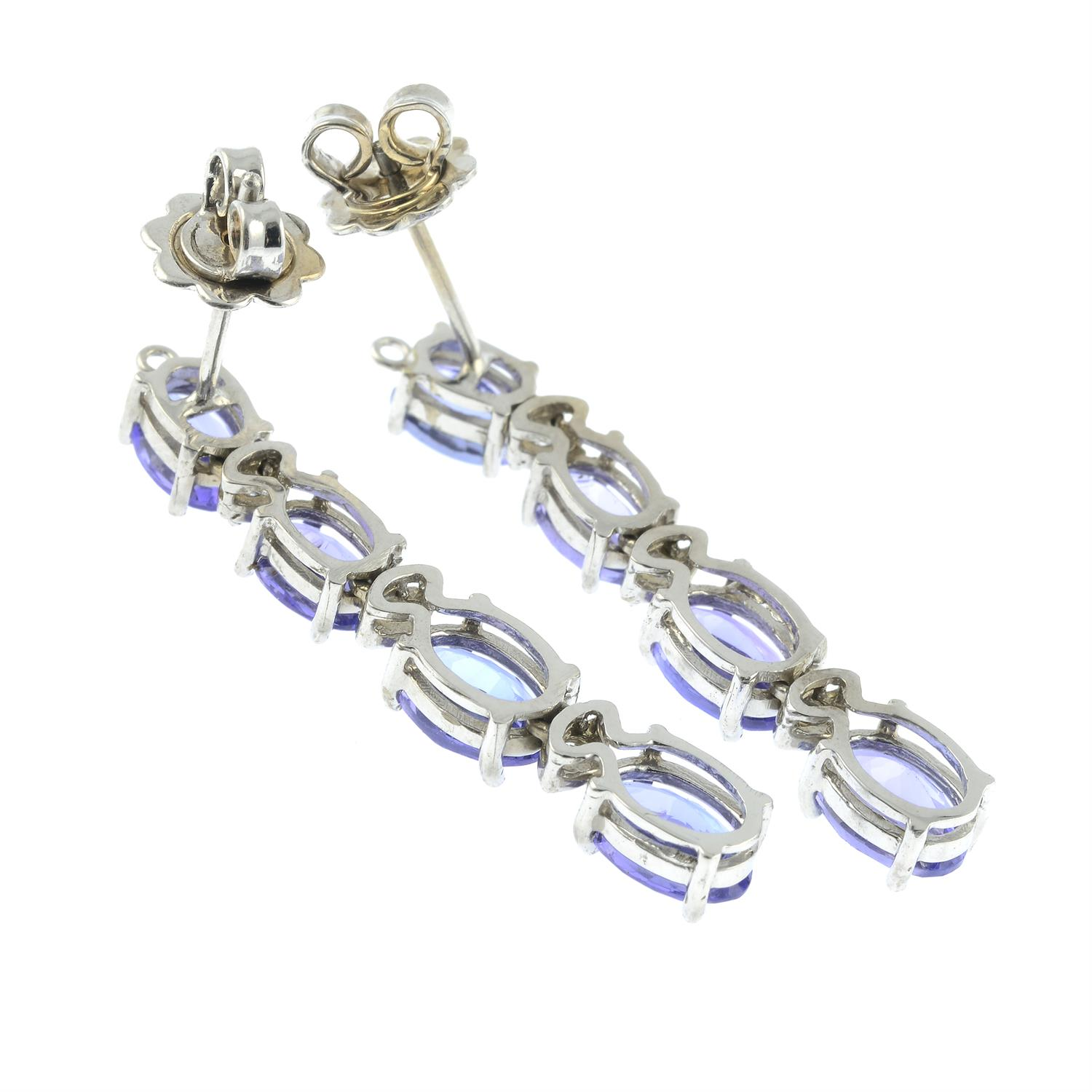 A pair of tanzanite and diamond earrings. - Image 3 of 3