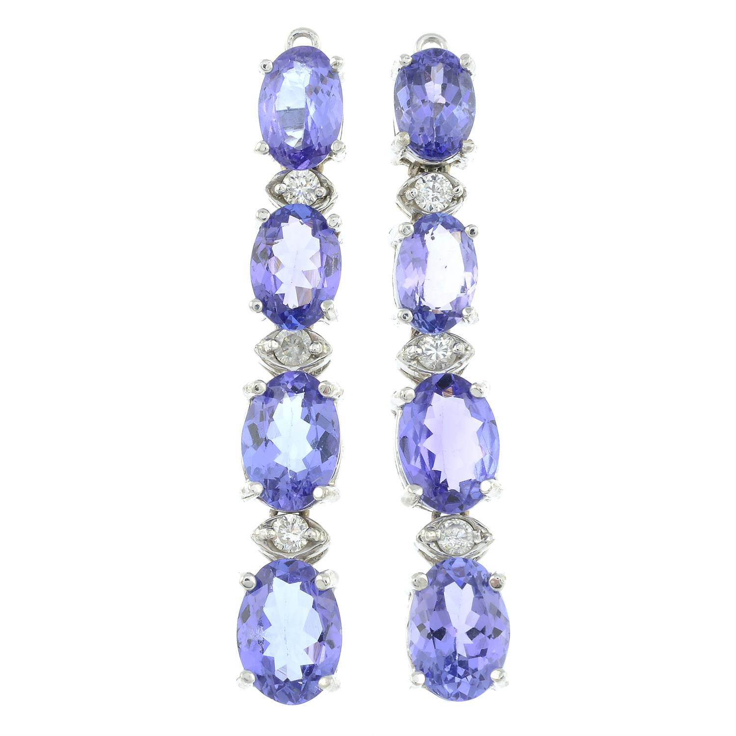 A pair of tanzanite and diamond earrings. - Image 2 of 3