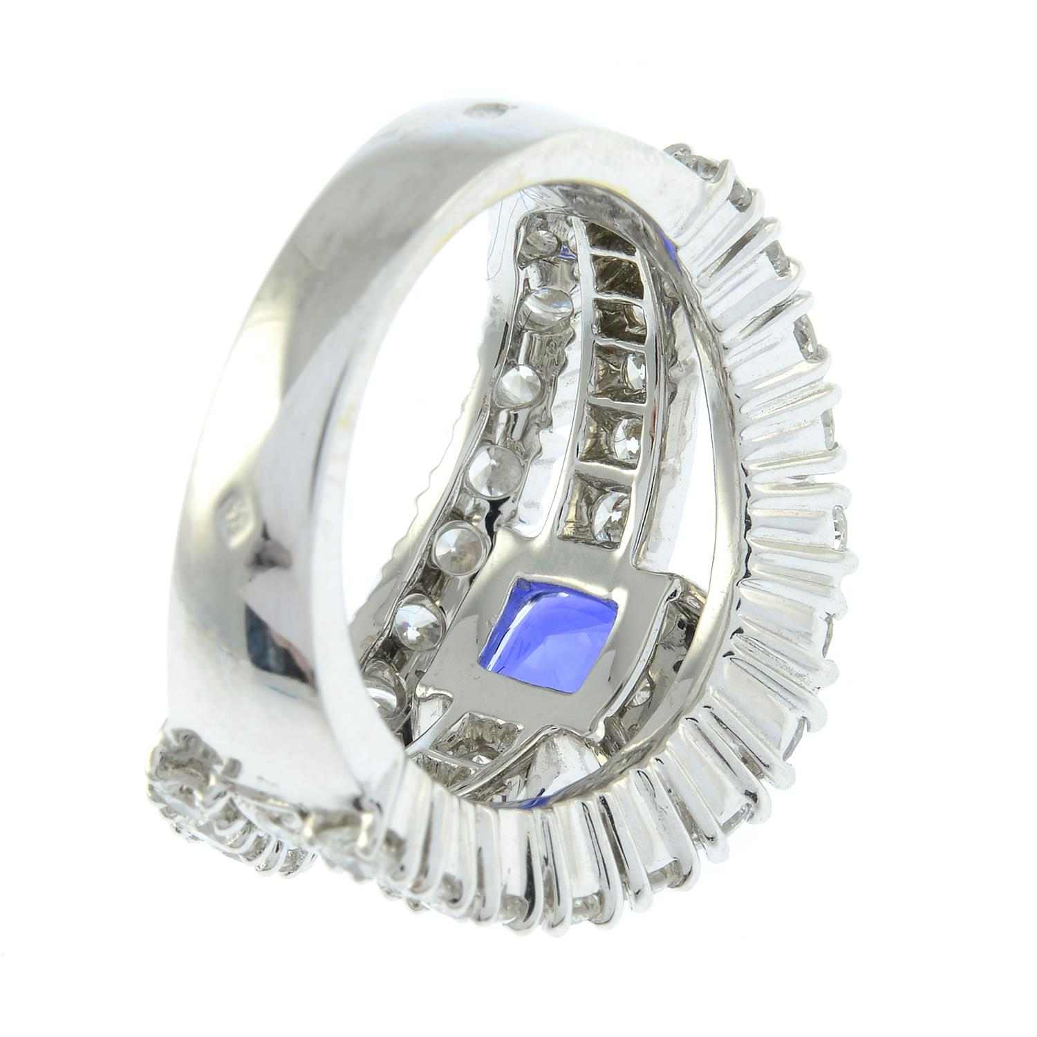 An 18ct gold no-heat sapphire and brilliant-cut diamond dress ring, by Ritz Fine Jewellery. - Image 5 of 8