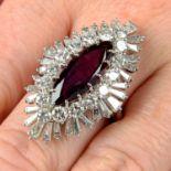 A 1970s platinum Thai ruby and vari-cut diamond dress ring.