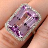 An 18ct gold kunzite and brilliant-cut diamond dress ring.