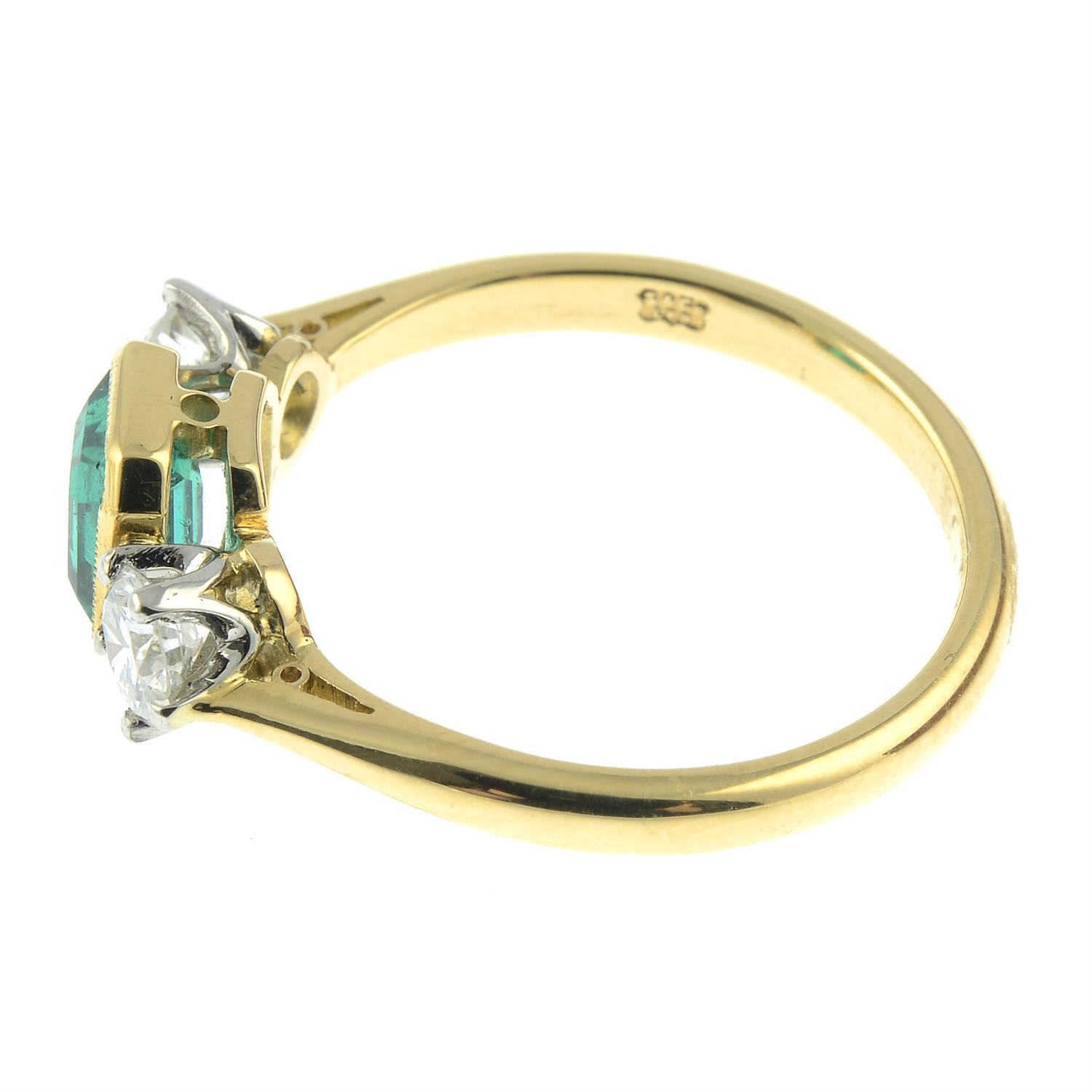 A platinum and 18ct gold emerald and brilliant-cut diamond three-stone ring. - Image 3 of 6