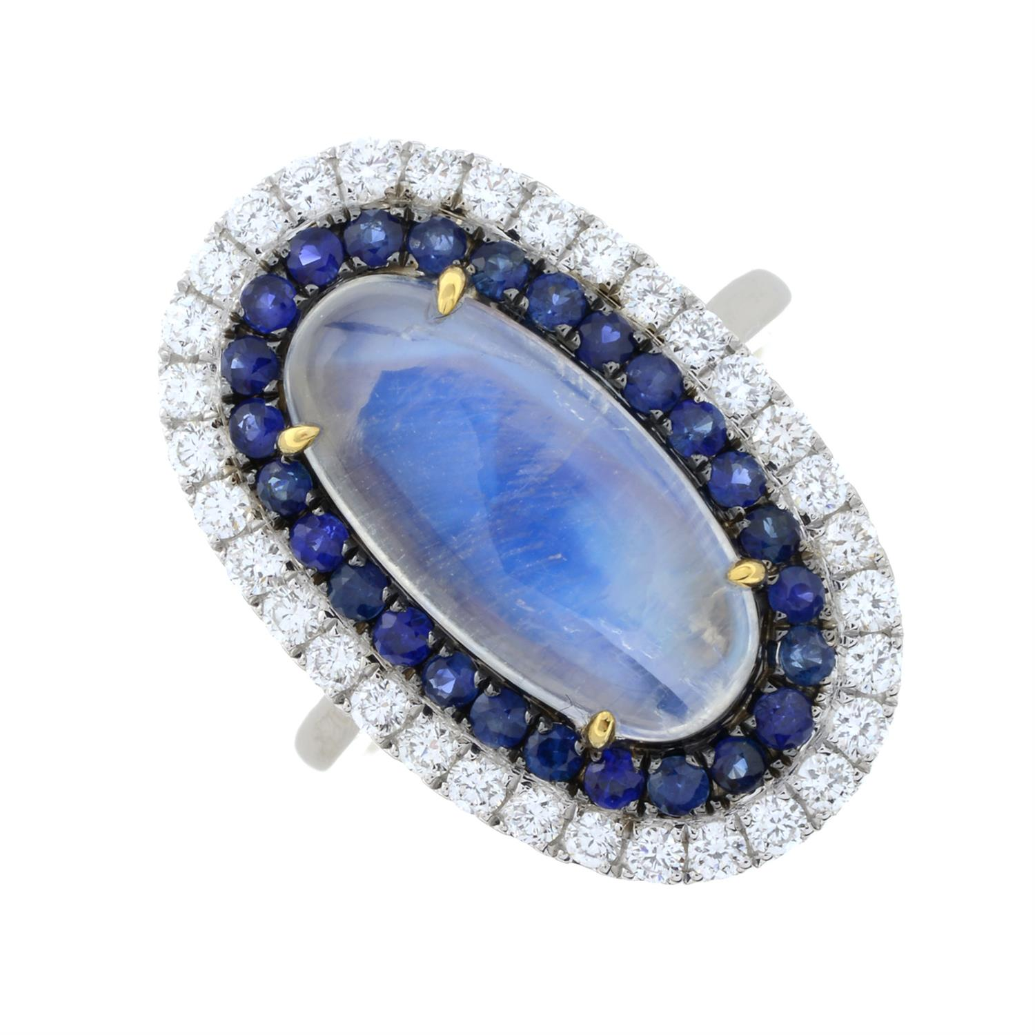 A moonstone, sapphire and diamond ring. - Image 2 of 6