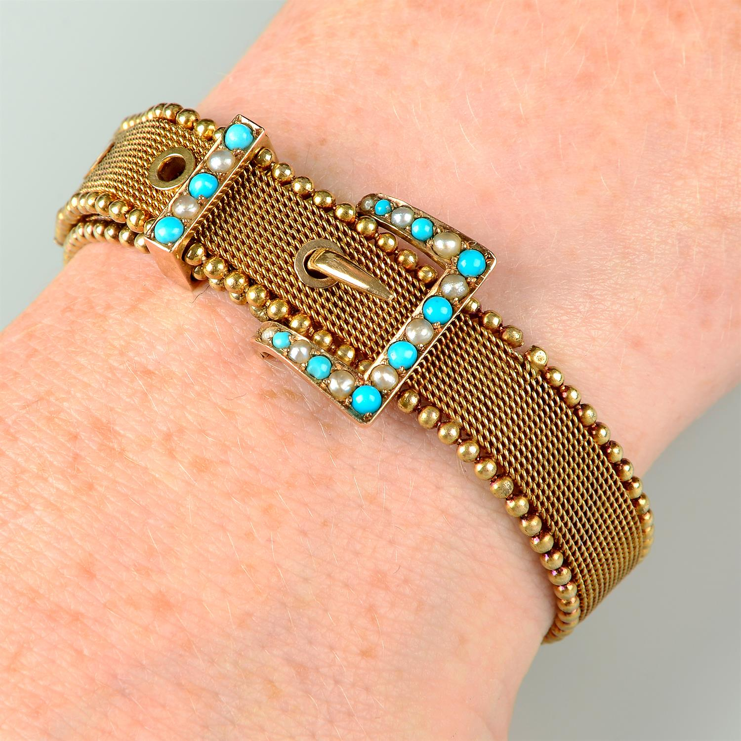 A late Victorian 15ct gold split pearl and turquoise buckle bracelet.