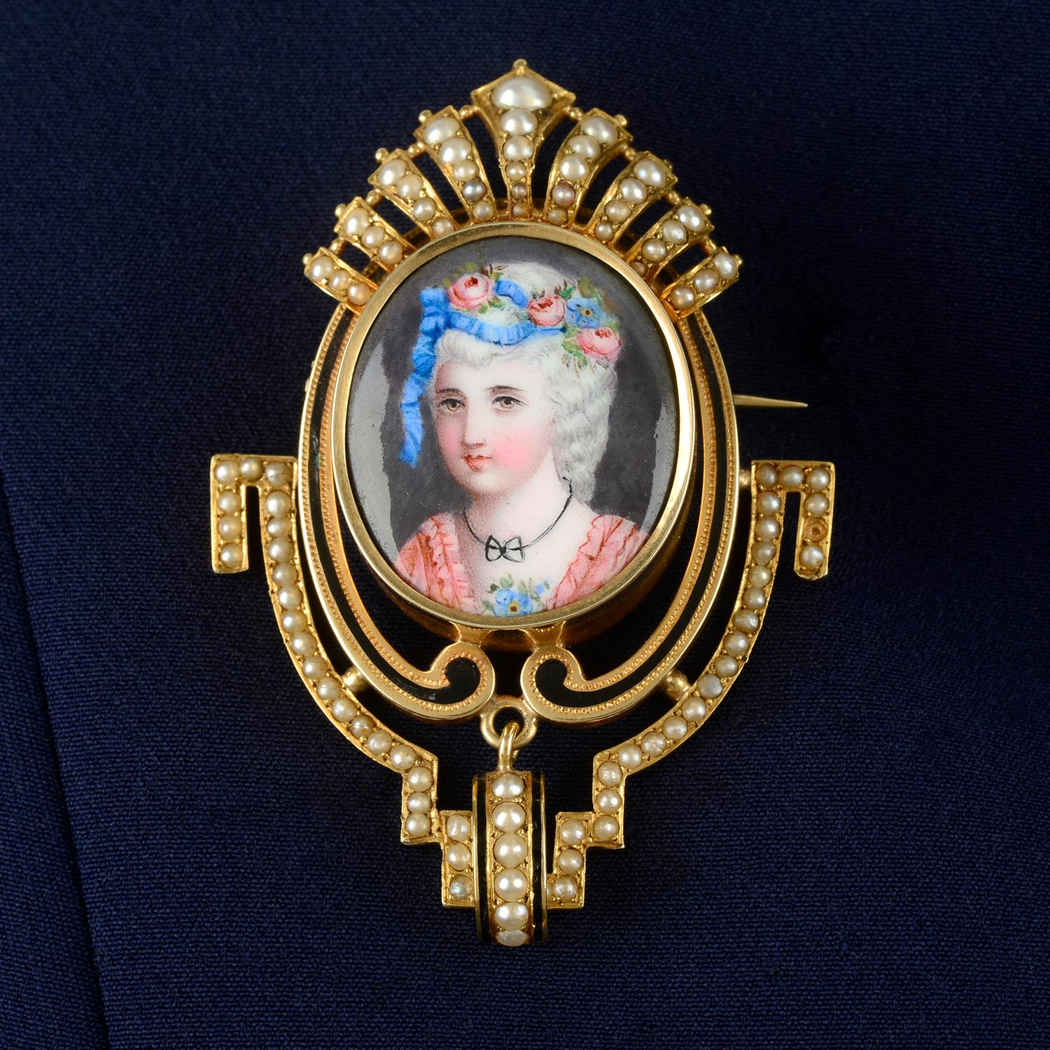 A late 19th century gold, enamel portrait and split pearl brooch, with matching earrings.