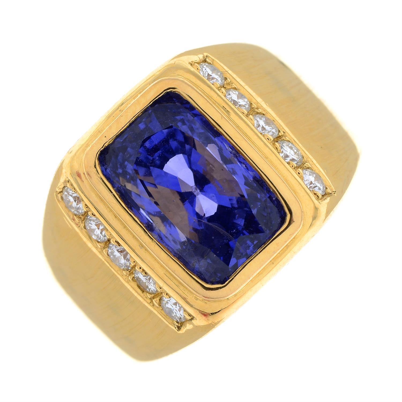 A Sri Lankan colour-change sapphire and brilliant-cut diamond ring. - Image 2 of 7
