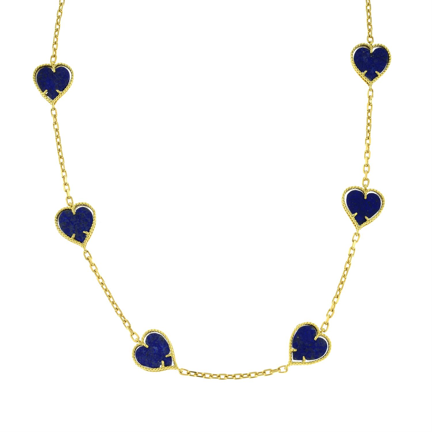 A mid 20th century 18ct gold lapis lazuli heart necklace. - Image 5 of 6