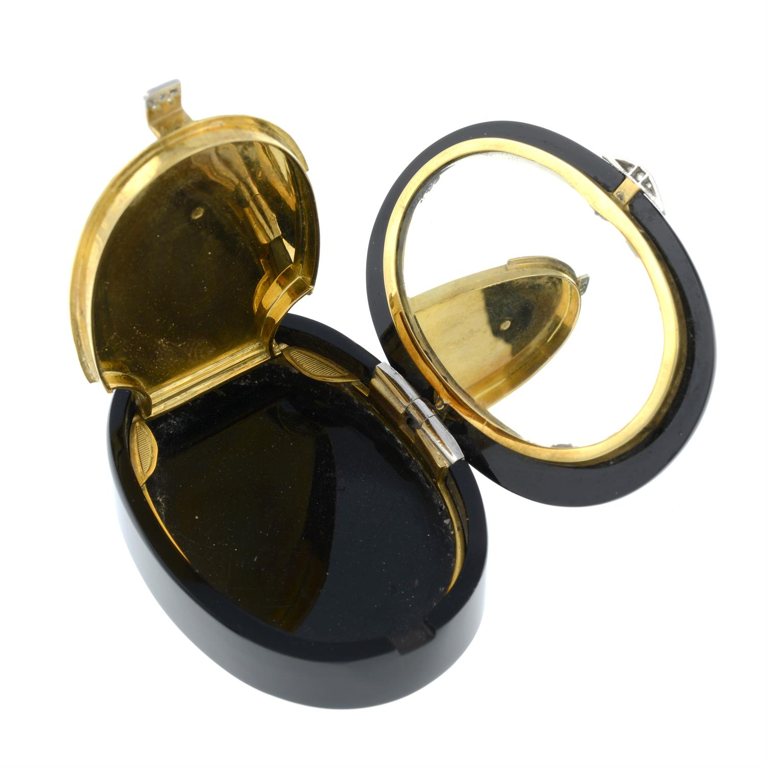 An Art Deco platinum and 18ct gold, rose-cut diamond and onyx box, with mirror to interior. - Image 5 of 5