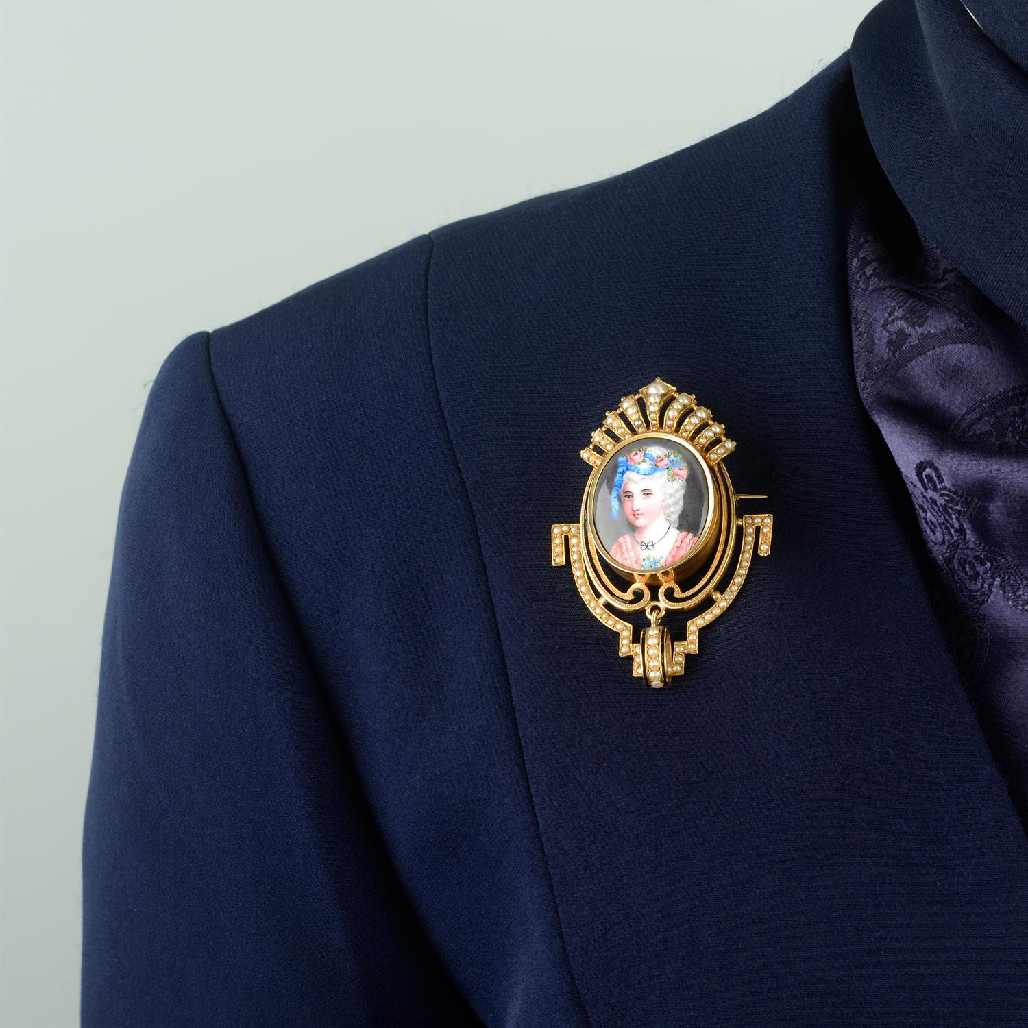 A late 19th century gold, enamel portrait and split pearl brooch, with matching earrings. - Image 6 of 6