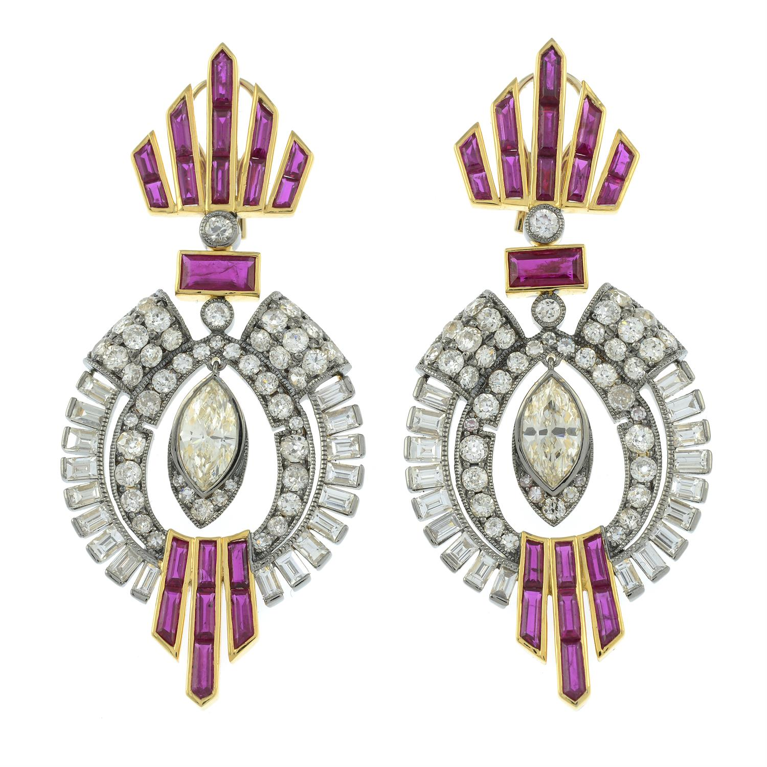 A pair of vari-cut diamond and calibré-cut ruby earrings, suspending a central marquise-shape - Image 2 of 3