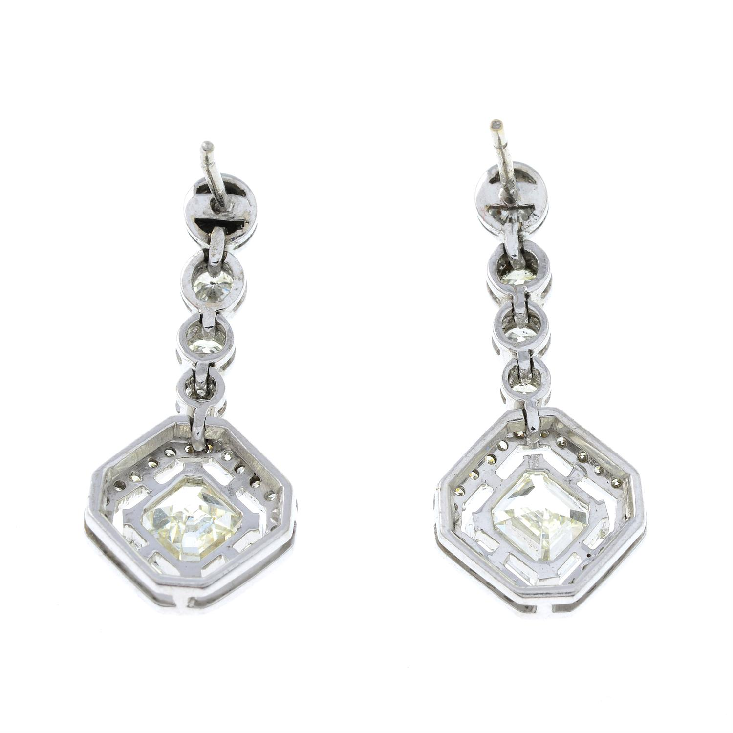 A pair of 18ct gold square-shape and brilliant-cut diamond earrings. - Image 3 of 4