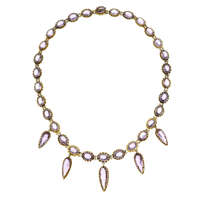 A 19th century gold purple paste fringe necklace. - Image 3 of 6