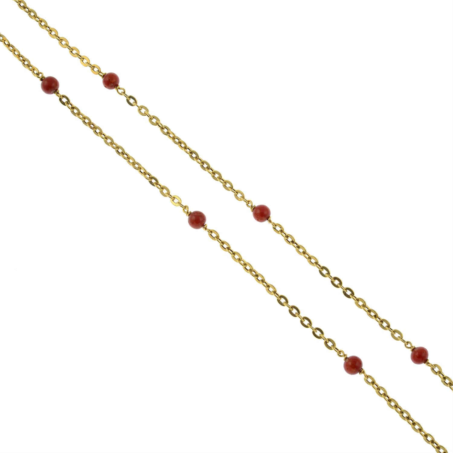 A mid 20th century Italian 18ct gold necklace, with coral bead spacers, by Orf. - Image 2 of 5