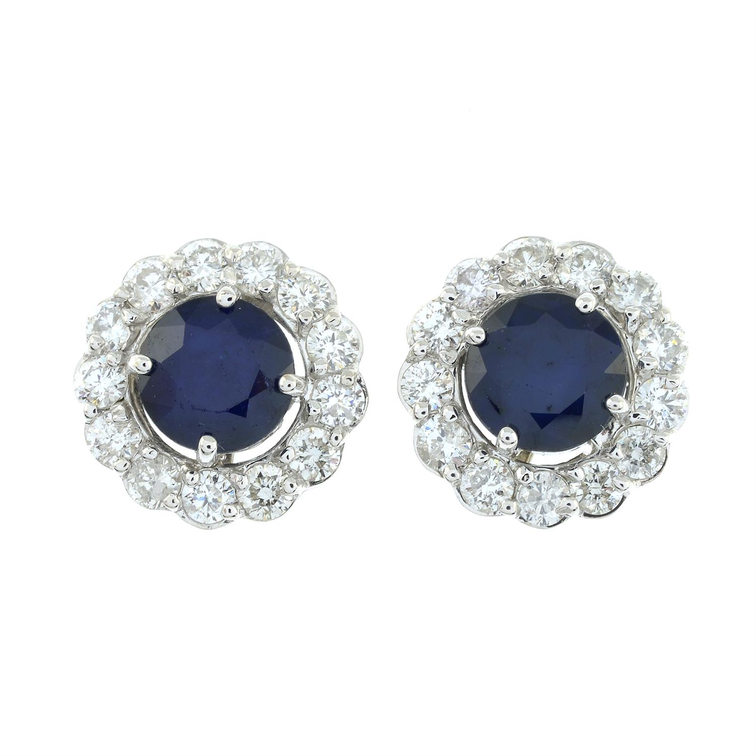 A pair of sapphire and brilliant-cut diamond earrings. - Image 2 of 4