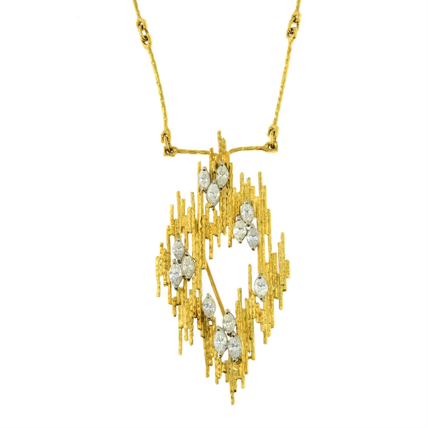 A 1970s 18ct gold marquise-shape diamond textured pendant brooch, with similarly-textured chain. - Image 2 of 5