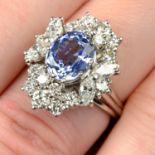 A Sri Lankan sapphire and vari-cut diamond cluster dress ring.