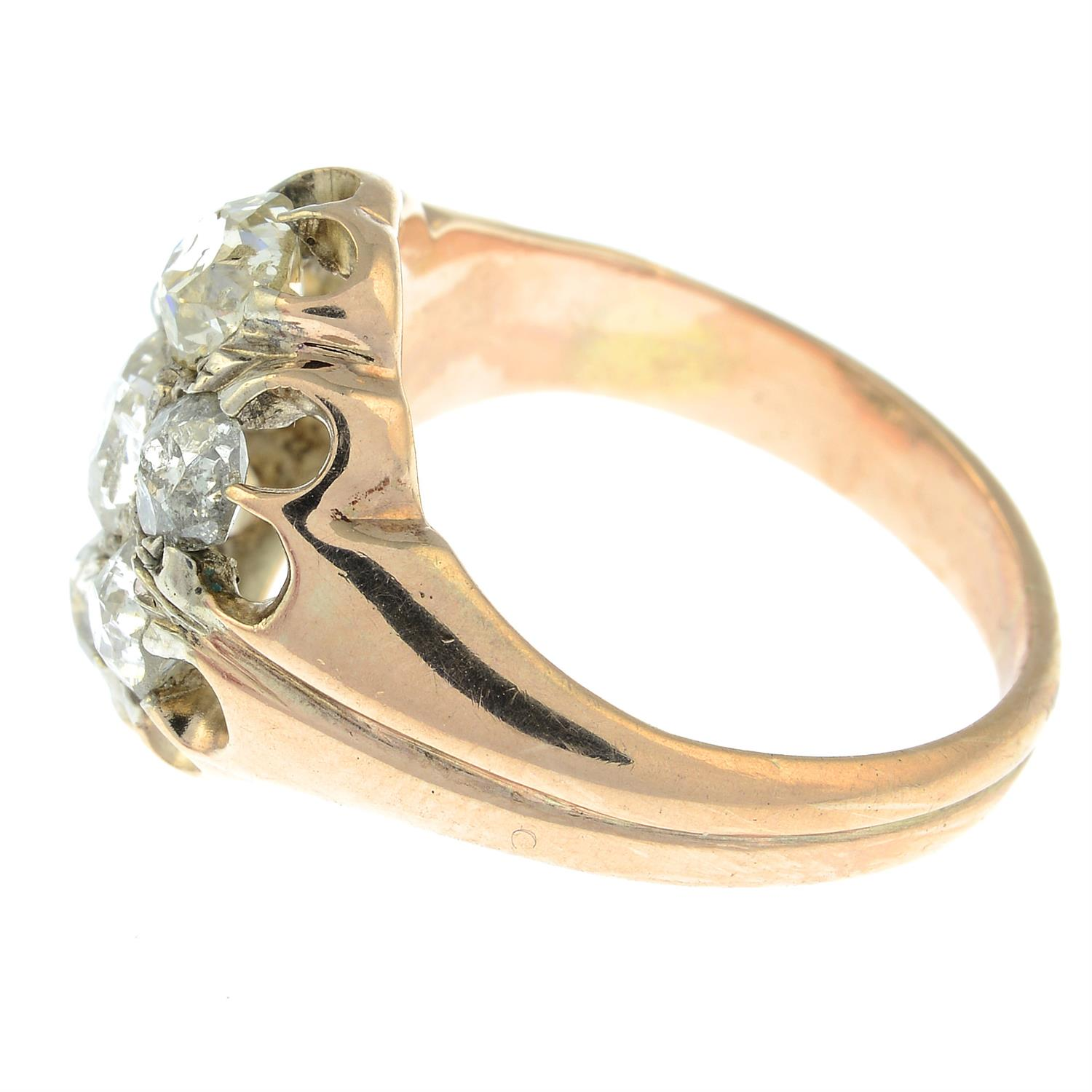 An early 20th century 9ct gold old-cut diamond cluster ring. - Image 3 of 6