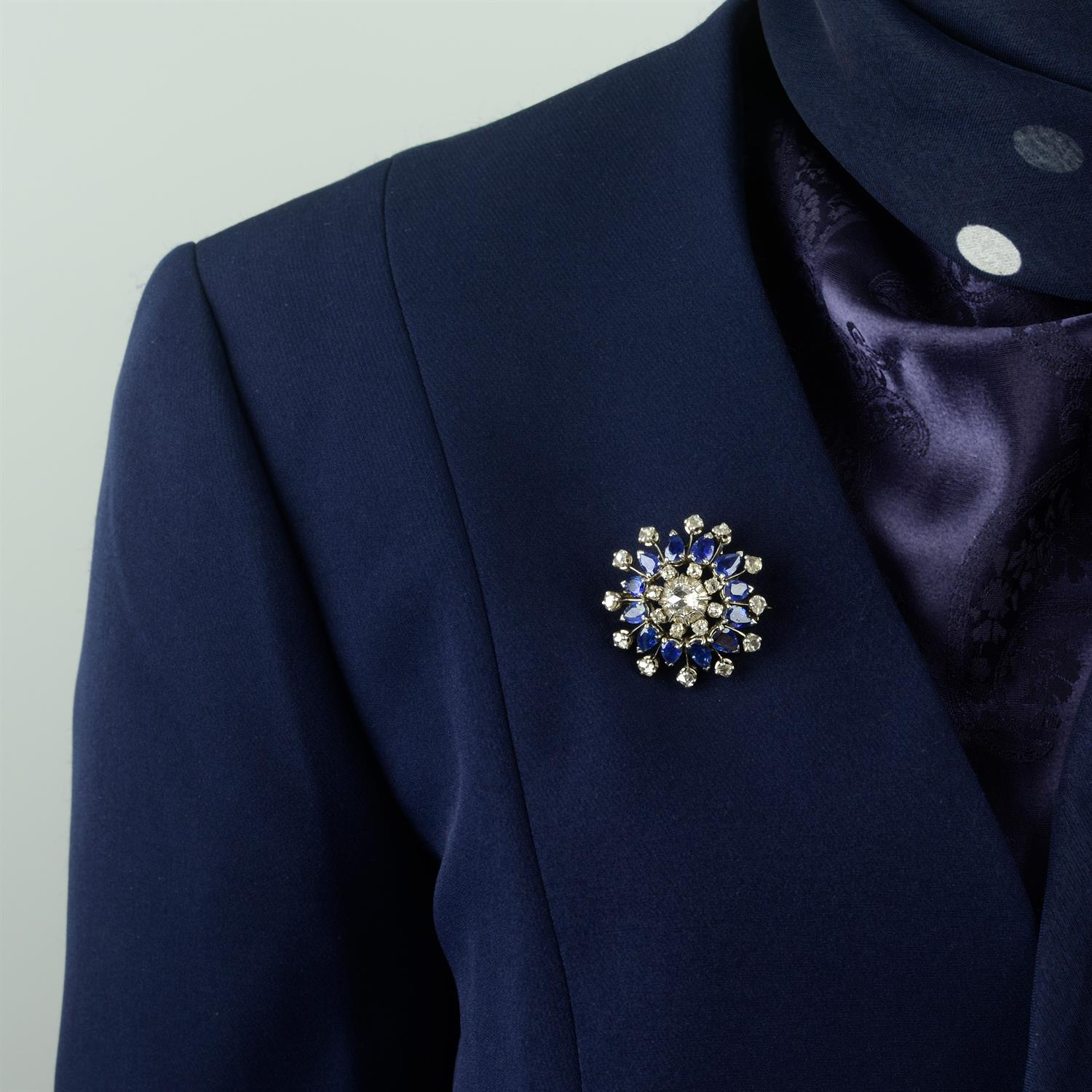 A rose and old-cut diamond and sapphire floral cluster brooch. - Image 5 of 5