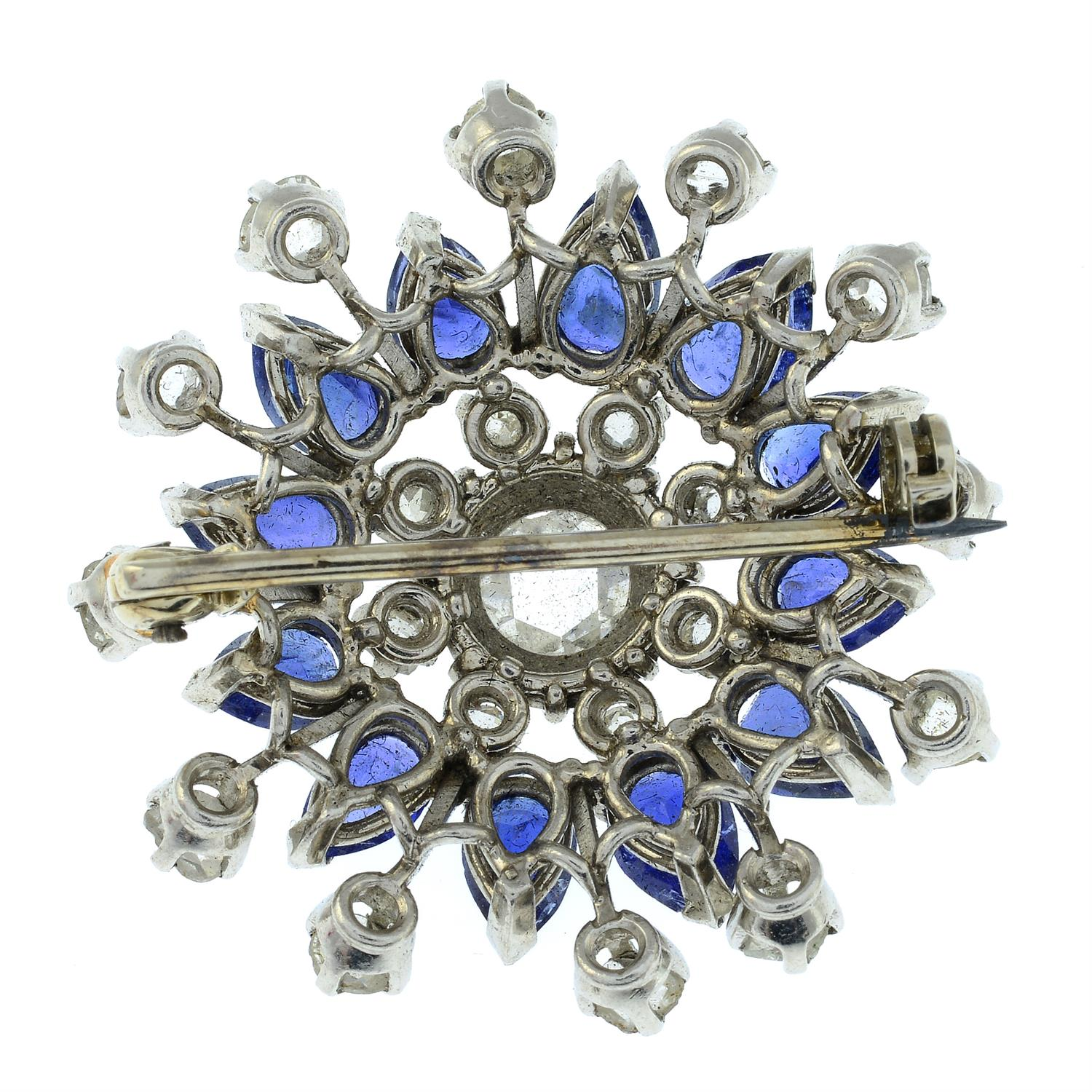 A rose and old-cut diamond and sapphire floral cluster brooch. - Image 3 of 5