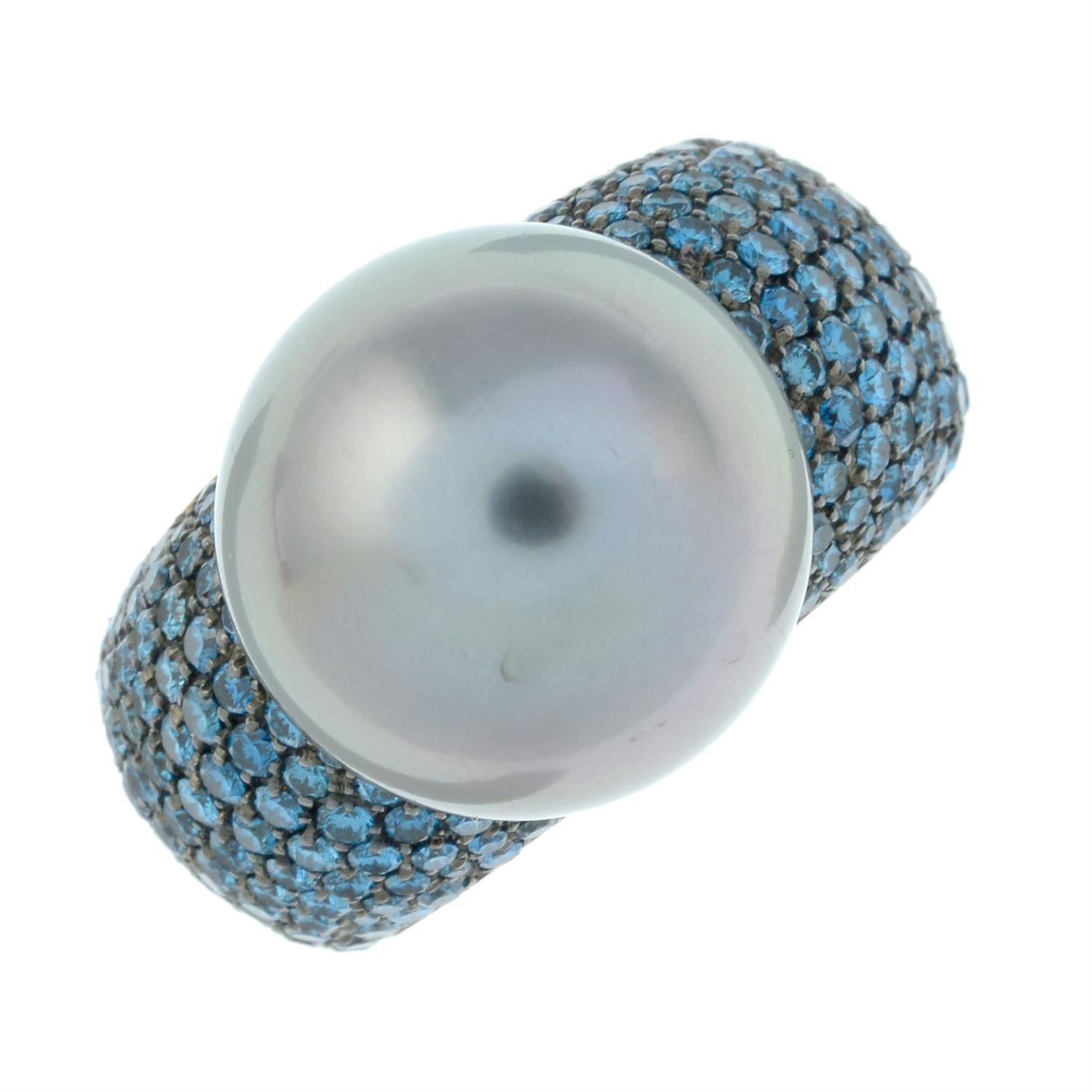 A colour-treated blue diamond and 'Tahitian' cultured pearl 'Classic Collection' ring, by Schoeffel. - Image 2 of 6