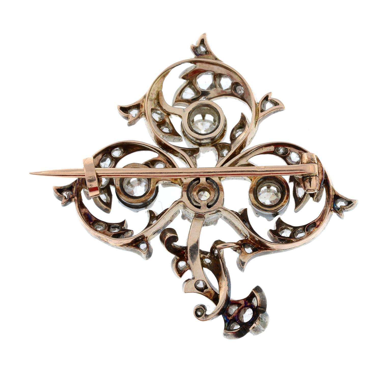 A late 19th century silver and gold, old and rose-cut diamond brooch. - Image 3 of 5