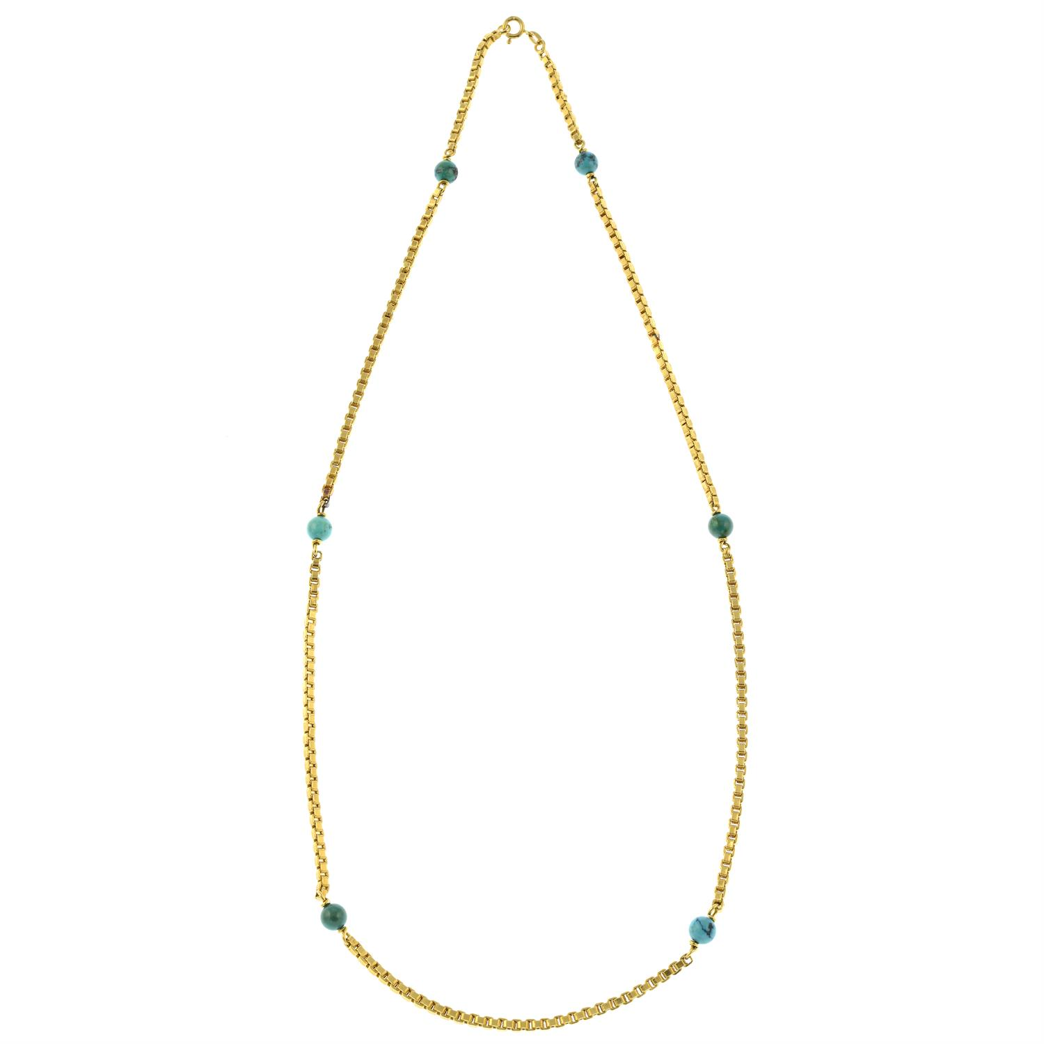 A mid 20th century Italian 18ct gold necklace, with turquoise matrix bead spacers, by Orf. - Image 3 of 5