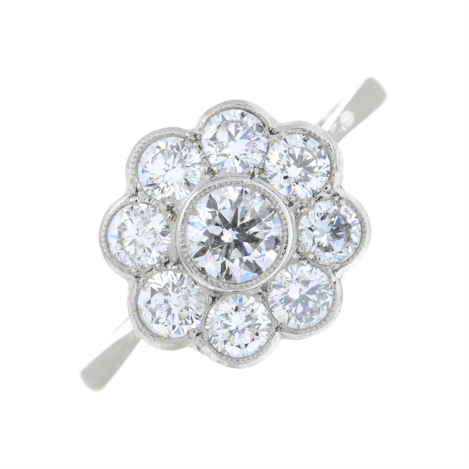 A brilliant-cut diamond floral cluster ring. - Image 2 of 6