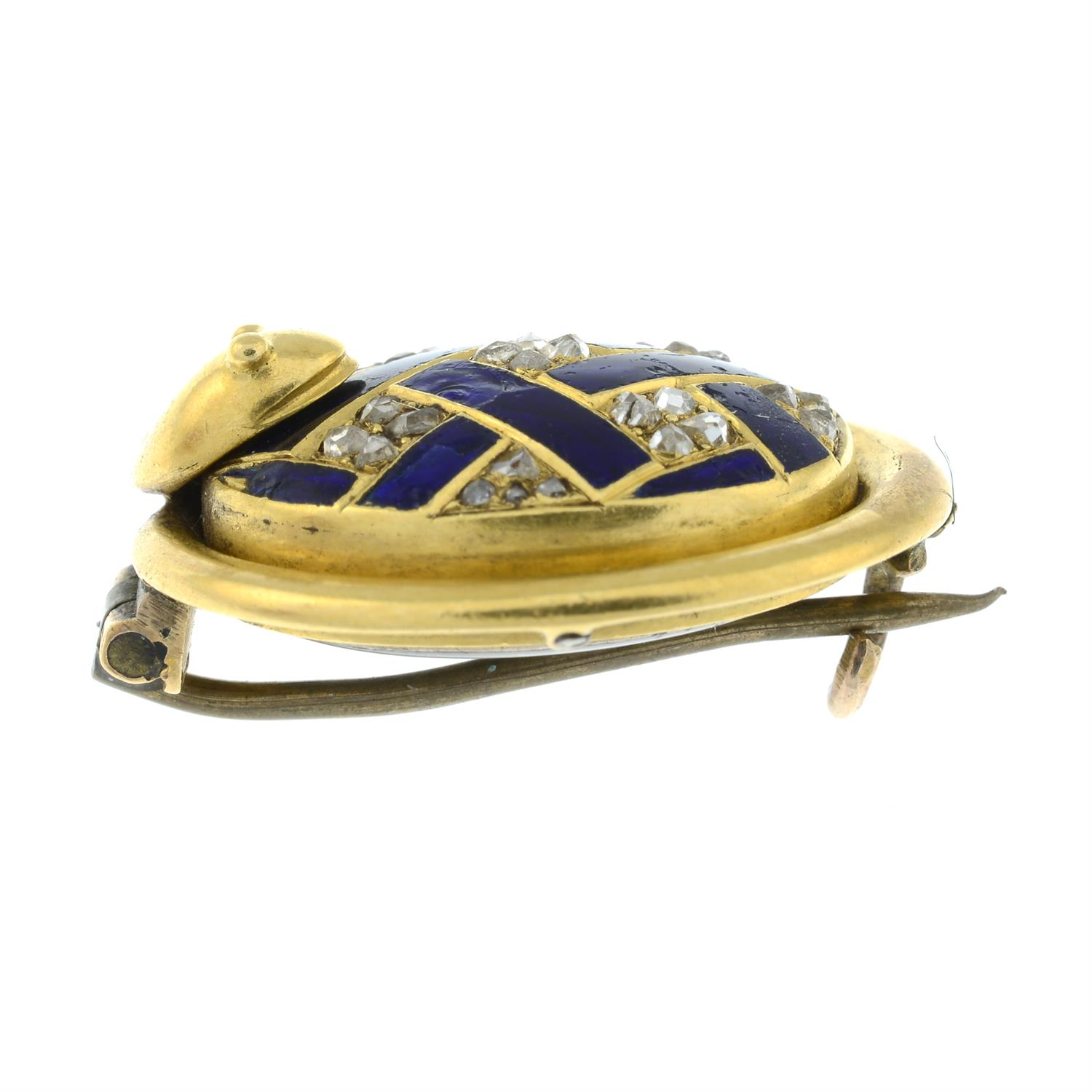 A 19th century gold rose-cut diamond and blue enamel lattice brooch, with snake surround and locket - Image 4 of 5