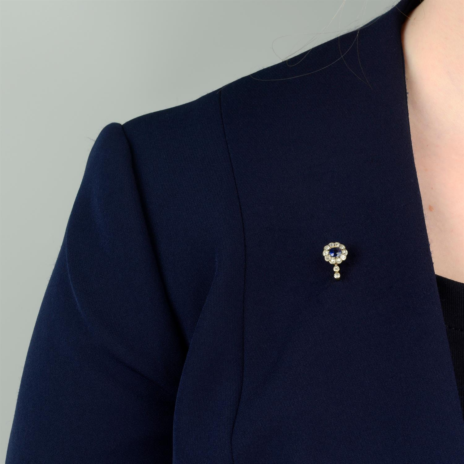 An early 20th century 12ct gold and platinum, sapphire and old-cut diamond cluster stickpin. - Image 5 of 5