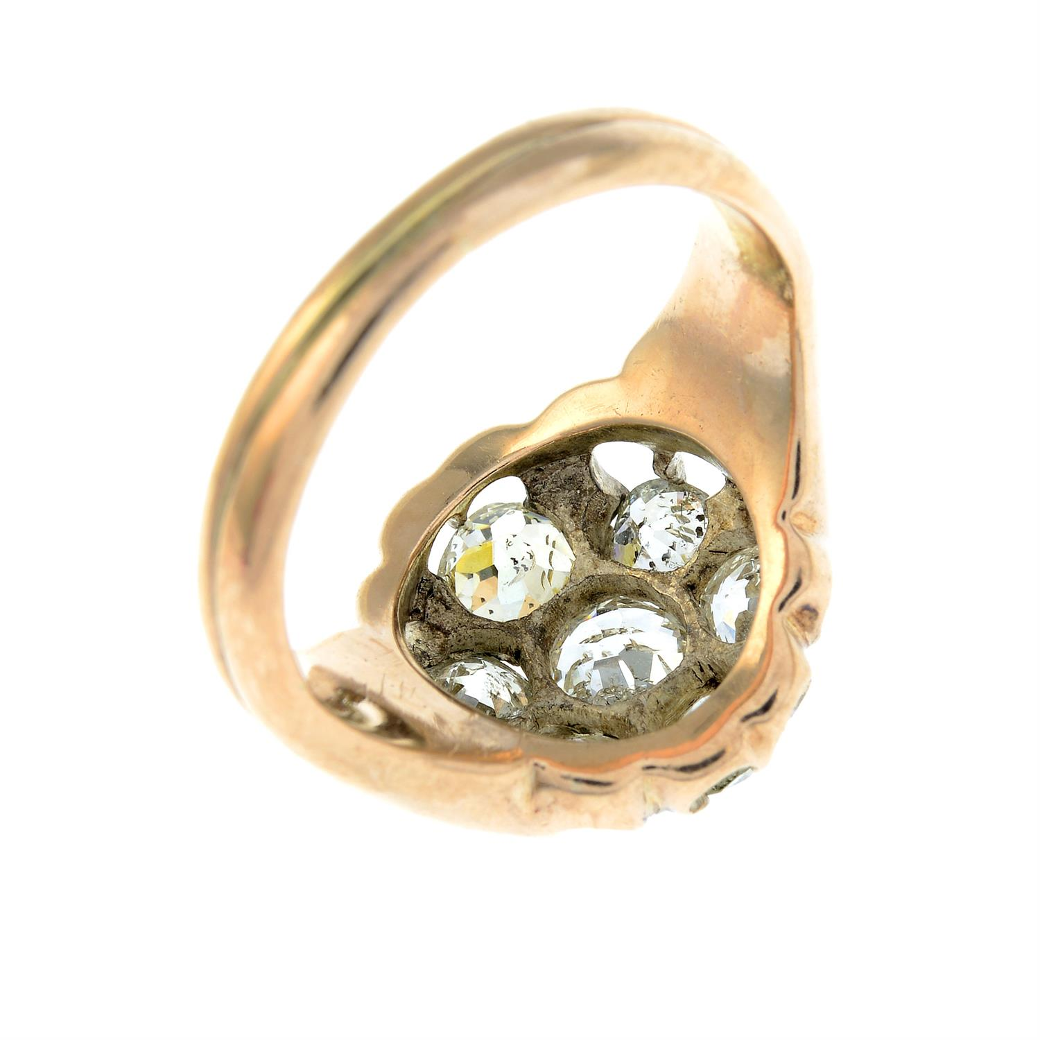 An early 20th century 9ct gold old-cut diamond cluster ring. - Image 5 of 6