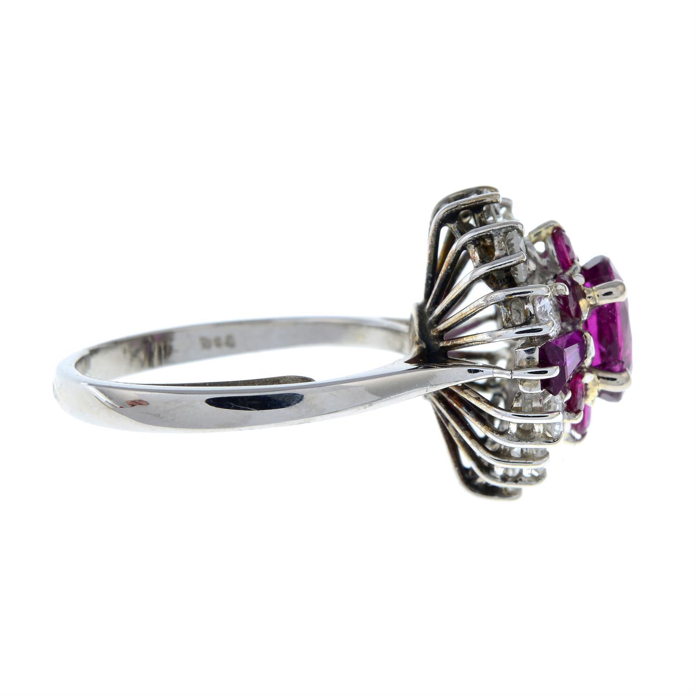 A vari-cut ruby and brilliant-cut diamond dress ring. - Image 5 of 6