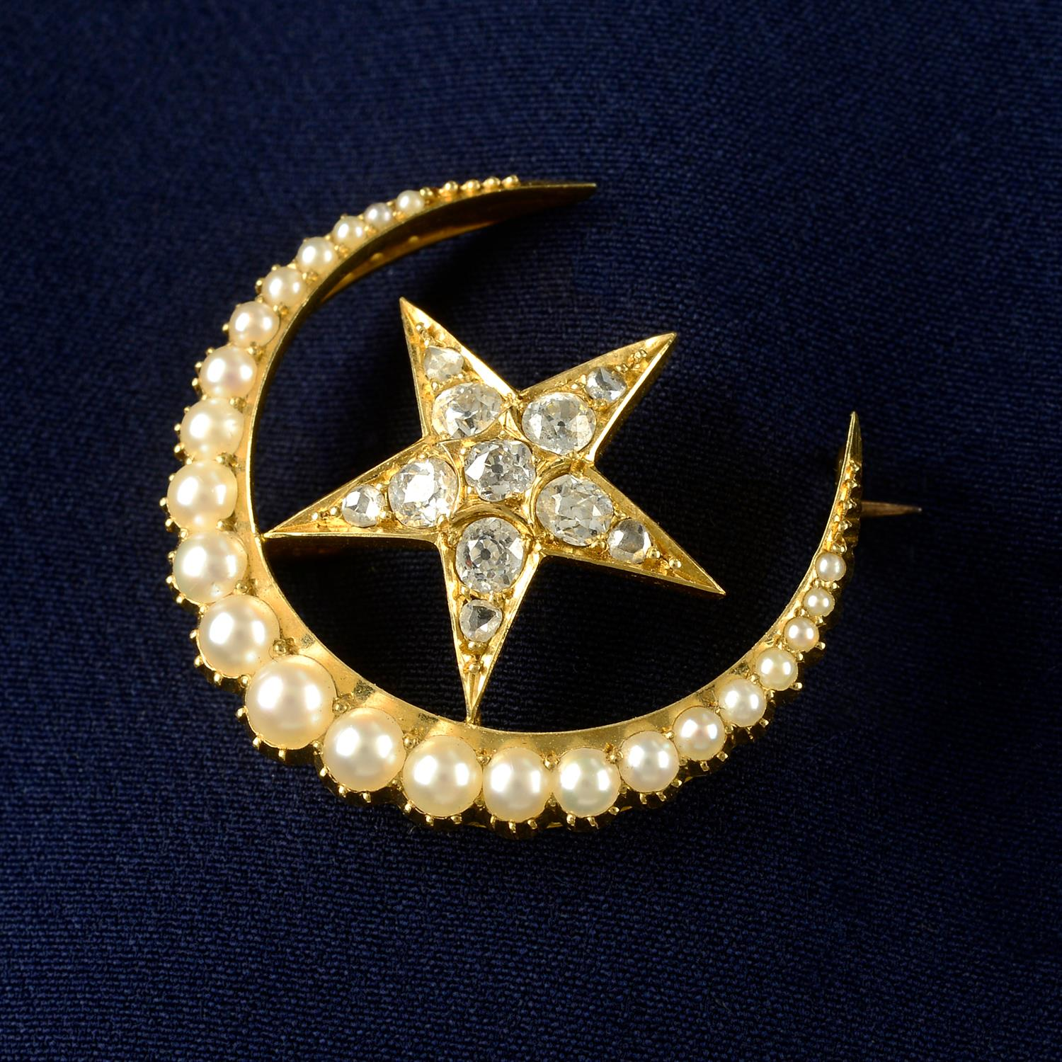 A late Victorian 15ct gold split pearl and old-cut diamond crescent moon and star brooch.