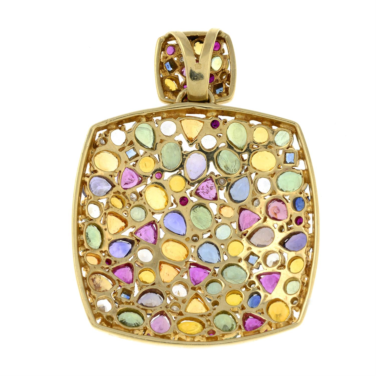 A 9ct gold multi gem pendant, to include vari-hue sapphire, diamond, spinel and further gems. - Image 3 of 4