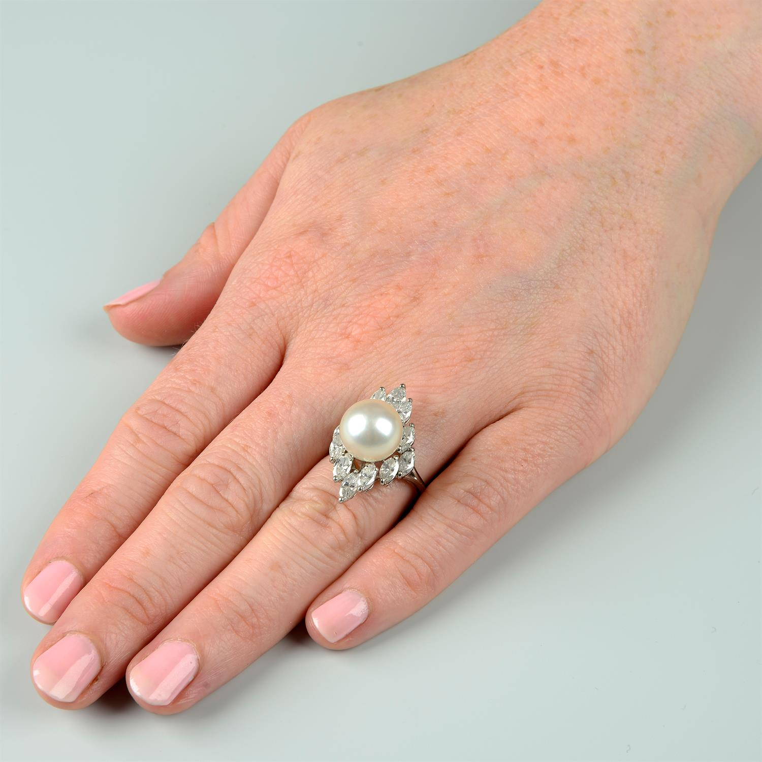 A cultured pearl and marquise-shape diamond cocktail ring. - Image 6 of 6