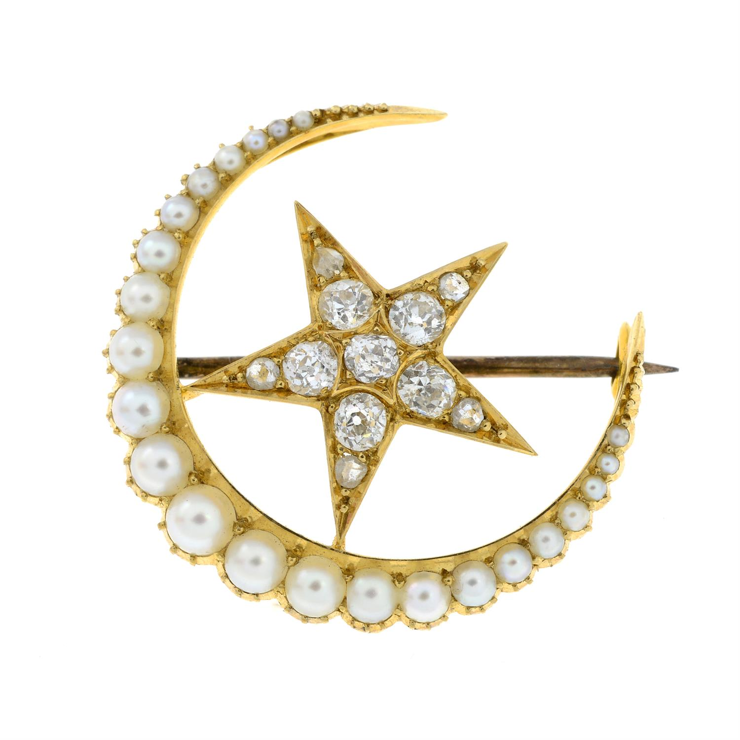 A late Victorian 15ct gold split pearl and old-cut diamond crescent moon and star brooch. - Image 2 of 5