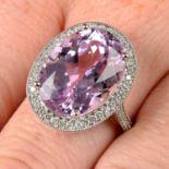 An 18ct gold kunzite and brilliant-cut diamond ring.