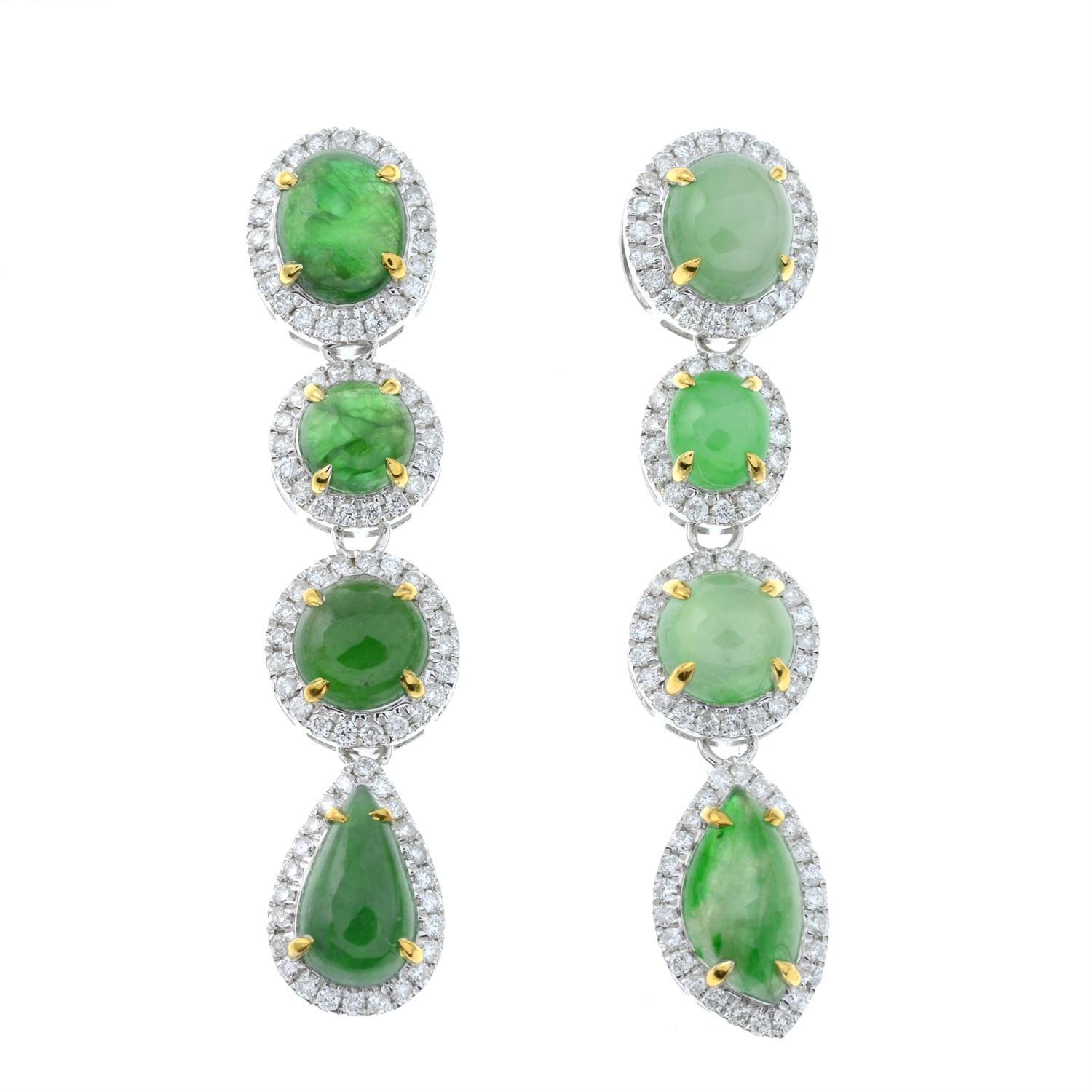 A pair of jade and diamond cluster drop earrings. - Image 2 of 4