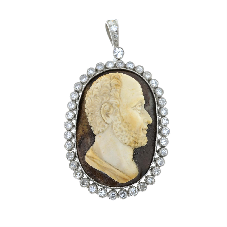 A hardstone cameo pendant, with single-cut diamond surround and surmount. - Image 2 of 5