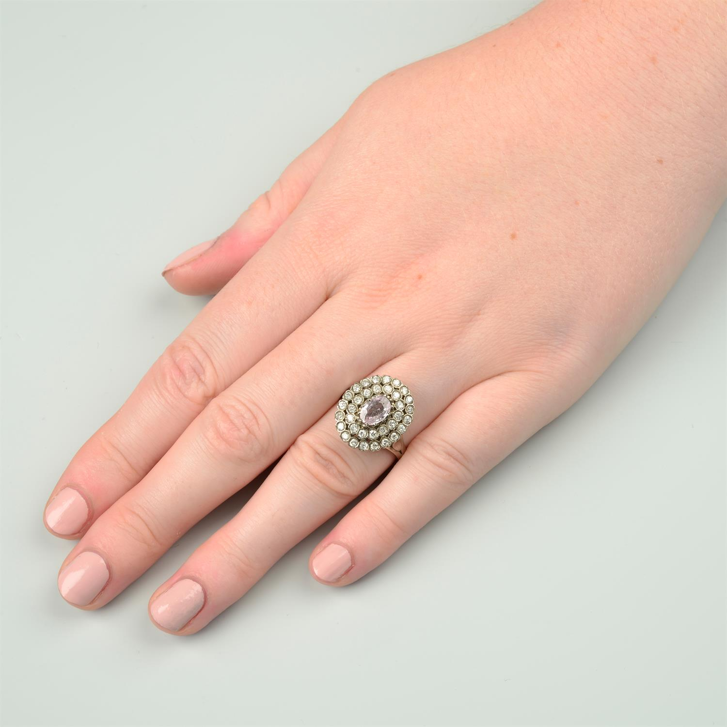 A pink sapphire and brilliant-cut diamond stepped cluster ring. - Image 6 of 6
