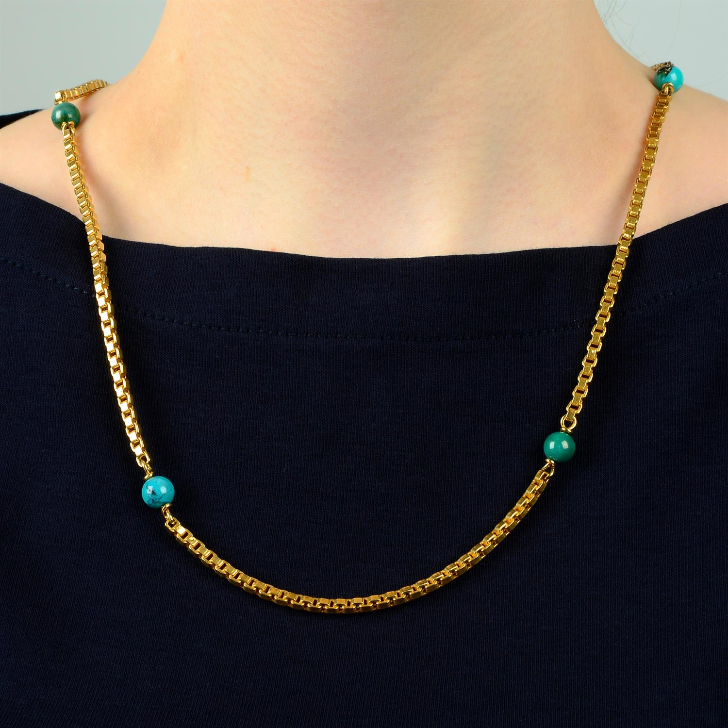 A mid 20th century Italian 18ct gold necklace, with turquoise matrix bead spacers, by Orf.