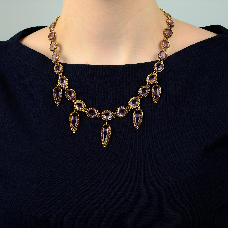 A 19th century gold purple paste fringe necklace. - Image 6 of 6